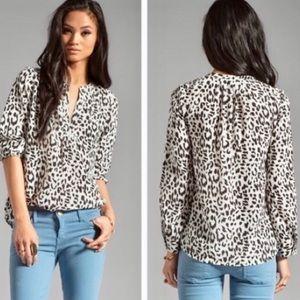 Joie Snow Leopard Silk Top